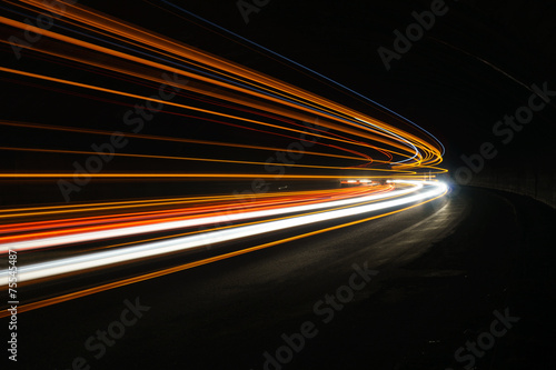 Interesting and abstract lights in orange, red, yellow and white плакат