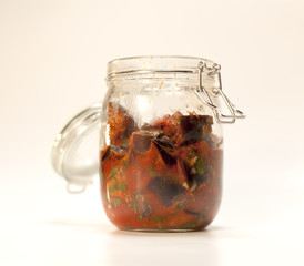 Marinated mixed fruits, vegetables and mushrooms of home canning