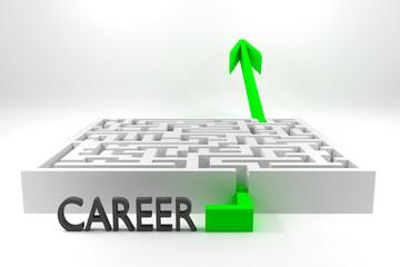 green arrow passing white maze career