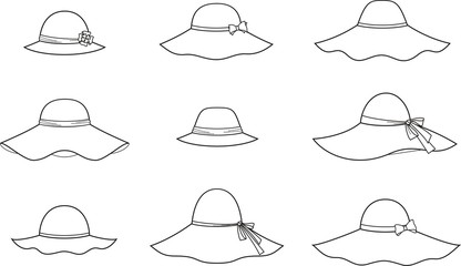 Vector fashion illustration of hats