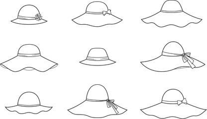 Vector fashion illustration of hats