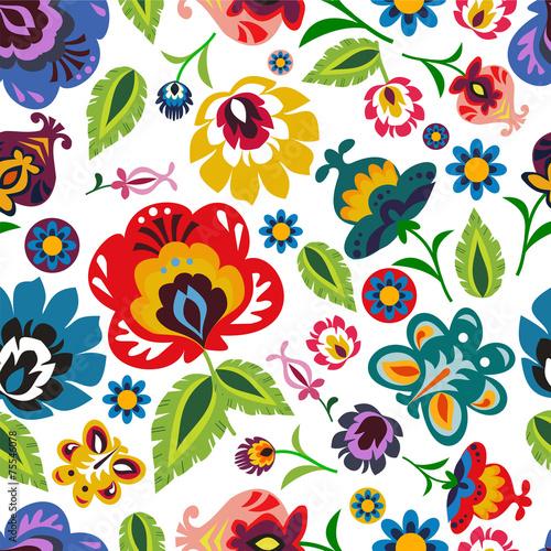 obraz PCV Tradycyjna polska ludowa kwiatowy wzór wektora