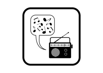 Radio vector icon on white background
