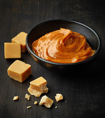 Bowl of melted caramel cream