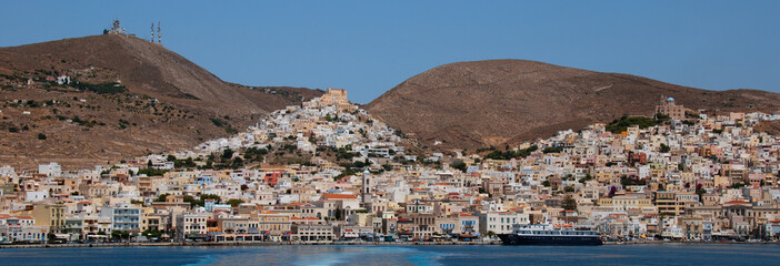 Capital town of the Greek island Syros view from the sea