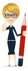 Smiling cartoon Businesswoman or teacher giving the thumbs up