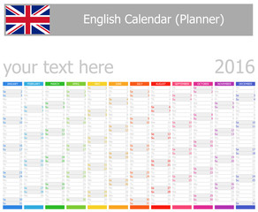 2016 English Planner Calendar with Vertical Months