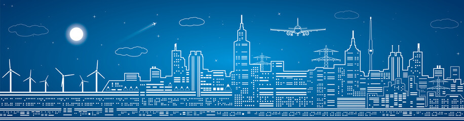 Lines city panoramic, light town, airplane flies, vector design