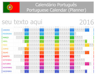 2016 Portuguese Planner Calendar with Horizontal Months