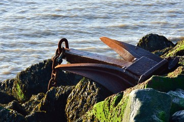 large Anchor on Rocks