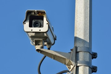 Security camera on post