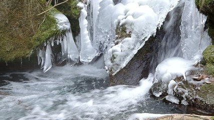 Freezing flowing stream in winter