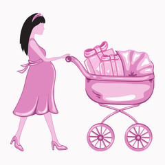 Young  pregnant woman with a pink baby carrier full of presents