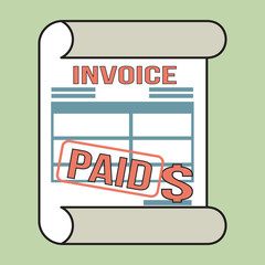 Invoice- bill icon with stamp paid