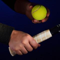 tennis racket grip and ball