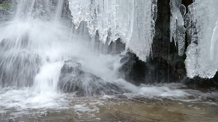 Freezing flowing stream in winter