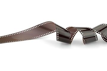 35mm photo film strip on white background.