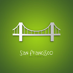 San Francisco, California. Green greeting card.