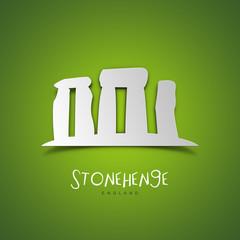 Stonehenge, England. Green greeting card.