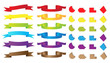 Set of ribbons and stickers. Vector illustration.