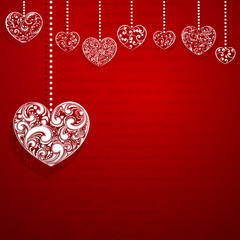 Background with hanging hearts