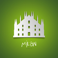 Milan, Italy. Green greeting card.