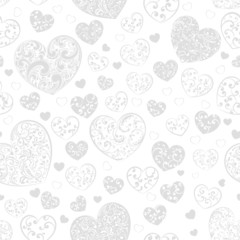 Seamless pattern of hearts, gray on white