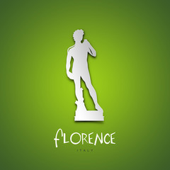 Florence, Italy. Green greeting card.