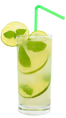 Fruit lemonade with lime and ice cubes and leaf mint in a highba