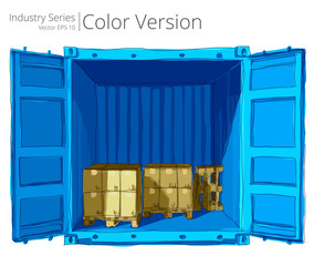 Vector illustration of open container with good, Color Series.