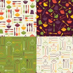 Set of food seamless patterns