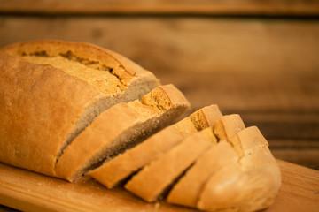 Sliced fresh bread on the table