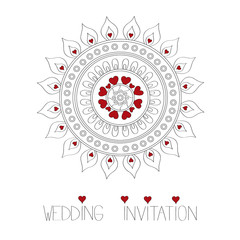 Ornamental wedding invitation vector