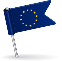 European Union pin icon flag. Vector illustration