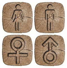 symbol man and woman carved into wooden signs