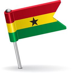 Ghana pin icon flag. Vector illustration