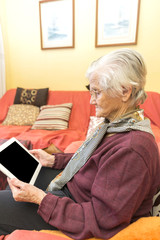 Grandma learning to use a tablet