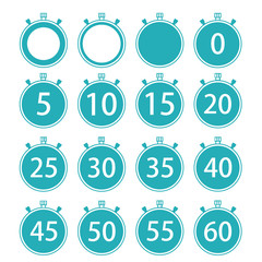 Vector modern flat stopwatch icons set on white