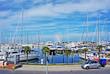 Leinwanddruck Bild - touristic dock in Rimini, Italy