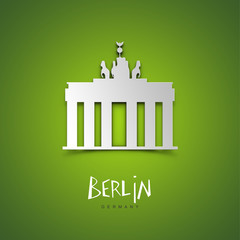 Berlin, Germany. Green greeting card.