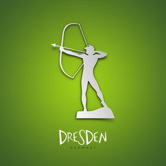 Dresden, Germany. Green greeting card.
