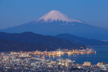 Shizuoka city town and Mountain Fuji at sunset