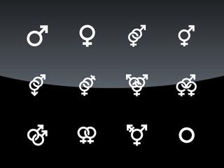 Gender symbol on black background.