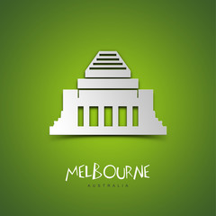 Melbourne, Australia. Green greeting card.