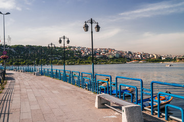 embankment in Istanbul of  Golden Horn  on a sunset