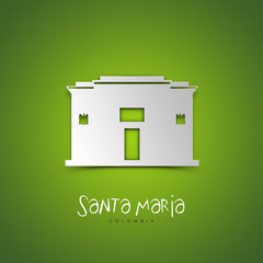 Santa Maria, Colombia. Green greeting card.
