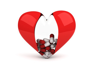 transparent heart with pills