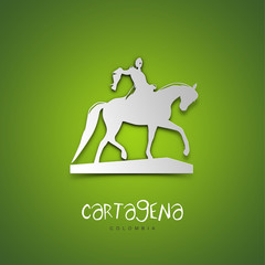 Cartagena, Colombia. Green greeting card.