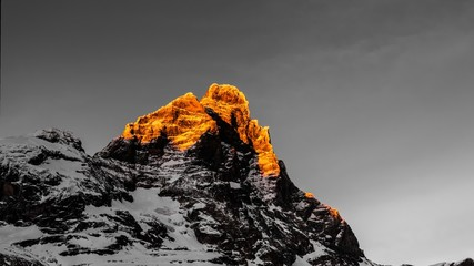 Matterhorn, time lapse at the sunset in a winter afternoon