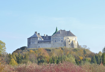 castle at hill with blue sky background
